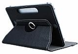 Universal 10 inch 360 Derece D�ner Standl� Tablet Siyah Deri K�l�f