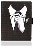 Universal 10 inch Siyah Kravat Standlı Cüzdanlı Deri Kılıf