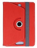 Universal 8 inch 360 Derece Döner Standlı Kırmızı Deri Kılıf