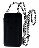 Universal Askılı Fonksiyonel Siyah Telefon Çantası