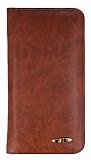 Universal Cüzdanlı Kahverengi Deri Kılıf