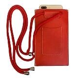 Universal Kartlıklı Askılı Kırmızı Telefon Çantası
