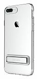 Usams iPhone 7 Plus / 8 Plus Standlı Silver Silikon Kılıf