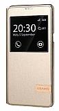 Usams Muge Series HTC One A9 Pencereli Standlı Gold Deri Kılıf
