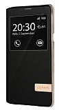 Usams Muge Series HTC One A9 Pencereli Standlı Siyah Deri Kılıf