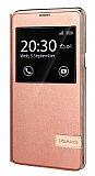 Usams Muge Series HTC One A9 Pencereli Standlı Rose Gold Deri Kılıf