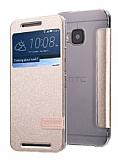 Usams Muge Series HTC One M9 Pencereli Standlı Gold Deri Kılıf