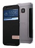 Usams Muge Series HTC One M9 Pencereli Standlı Siyah Deri Kılıf