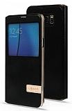 Usams Muge Series Samsung Galaxy Note 5 Pencereli Standlı Siyah Deri Kılıf
