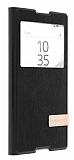 Usams Muge Series Sony Xperia Z5 Compact Pencereli Standlı Siyah Deri Kılıf