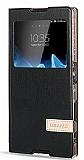 Usams Muge Series Sony Xperia Z5 Pencereli Standlı Siyah Deri Kılıf