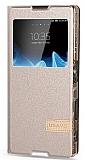 Usams Muge Series Sony Xperia Z5 Pencereli Standlı Gold Deri Kılıf