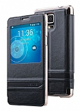 Usams Samsung Galaxy Note 4 Pencereli Standlı Siyah Deri Kılıf