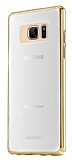 Usams Samsung Galaxy Note 7 Gold Kenarlı Şeffaf Rubber Kılıf