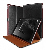 Verus Dandy Layered Leather iPad Pro 12.9 Siyah Kılıf