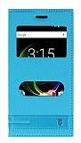 Vestel Venus E3 Çift Pencereli İnce Kapaklı Mavi Kılıf