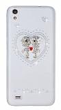 Vestel Venus V3 5040 Love Taşlı Şeffaf Rubber Kılıf