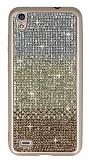 Vestel Venus V3 5040 Taşlı Geçişli Gold Silikon Kılıf
