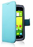 Vodafone Blade V Cüzdanlı Yan Kapaklı Mavi Deri Kılıf