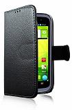 Vodafone Blade V Cüzdanlı Yan Kapaklı Siyah Deri Kılıf