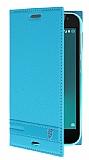 Vodafone Smart N8 Gizli Mıknatıslı Yan Kapaklı Mavi Deri Kılıf