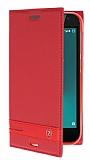 Vodafone Smart N8 Gizli Mıknatıslı Yan Kapaklı Kırmızı Deri Kılıf