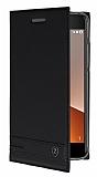 Vodafone Smart V8 Gizli Mıknatıslı Yan Kapaklı Siyah Deri Kılıf