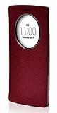 Voia LG G4 Beat Premium Uyku Modlu Pencereli Gerçek Kırmızı Deri Kılıf