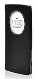 Voia LG G4 Beat Premium Uyku Modlu Pencereli Gerçek Siyah Deri Kılıf