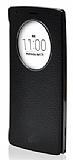 Voia LG G4 Premium Uyku Modlu Pencereli Siyah Gerçek Deri Kılıf
