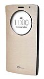 Voia LG G4 Stylus Orjinal Uyku Modlu Pencereli Gold Deri Kılıf