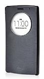 Voia LG G4 Stylus Orjinal Uyku Modlu Pencereli Siyah Deri Kılıf