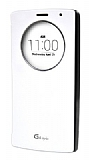 Voia LG G4 Stylus Orjinal Uyku Modlu Pencereli Beyaz Deri Kılıf