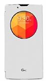 Voia LG G4c Orjinal Uyku Modlu Pencereli Beyaz Deri Kılıf