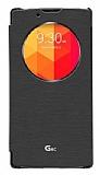Voia LG G4c Orjinal Uyku Modlu Pencereli Siyah Deri Kılıf