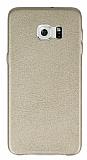 Wasswey Samsung Galaxy S6 Edge Plus Deri Görünümlü Gold Rubber Kılıf