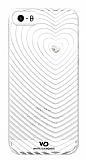 White Diamonds iPhone SE / 5 / 5S Heartbeat Ta�l� Beyaz Rubber K�l�f