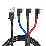 Wiwu YZ106 Çift Lightning + Type-C Usb Data Kablosu 1.20m