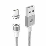 Wsken USB Type-C Dayanıklı Halat Manyetik Beyaz Data Kablosu 1m