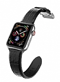 X-Doria Hybrid Leather Apple Watch 6 Crock Black Gerçek Deri Kordon 44mm