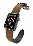 X-Doria Hybrid Leather Apple Watch 6 Kahverengi Gerçek Deri Kordon 44mm