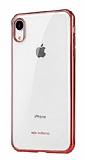 X-Doria iPhone XR Kırmızı Kenarlı Şeffaf Rubber Kılıf