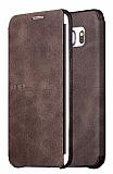 X-Level Extreme Samsung Galaxy S6 Edge Standlı Kapaklı Kahverengi Deri Kılıf