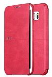 X-Level Extreme Samsung Galaxy S6 Edge Standlı Kapaklı Kırmızı Deri Kılıf
