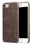 X-Level Vintage iPhone 7 Deri Görünümlü Kahverengi Rubber Kılıf
