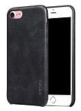 X-Level Vintage iPhone 7 Deri Görünümlü Siyah Rubber Kılıf