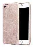 X-Level Vintage iPhone 7 Deri Görünümlü Krem Rubber Kılıf
