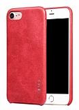 X-Level Vintage iPhone 7 Deri Görünümlü Kırmızı Rubber Kılıf