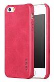 X-Level Vintage iPhone SE / 5 / 5S Deri Görünümlü Kırmızı Rubber Kılıf