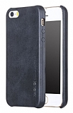 X-Level Vintage iPhone SE / 5 / 5S Deri Görünümlü Siyah Rubber Kılıf